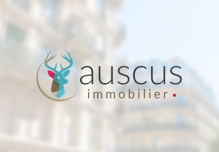 Auscus immobilier : Identité visuelle, logotype, carte de visite